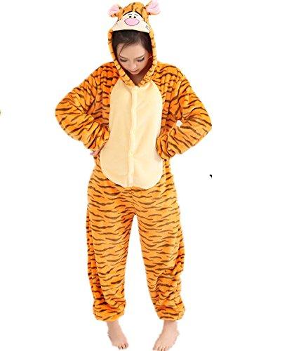 Winnie The Pooh Piglet Eeyore Donkey Esel Tigger Känguru Onesie Kigurumi Pyjama Karneval Kostüm Maskenkostüm Kapuzenpulli Schlafanzüge Tigger, XL(Height 180cm-190cm)