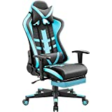 Homall Ergonomic High-Back Racing Chair | Leather Bucket Seat, Headrest, Footrest and Lumbar Support | Black & Blue