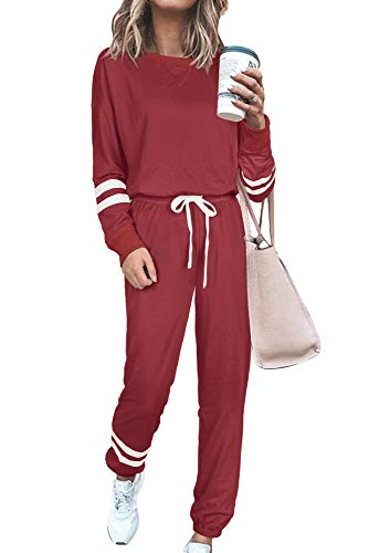Womens Sweatsuits Sets Two Piece Loose Fit Loungewear Soft Christmas Pajamas Red M