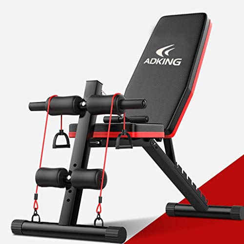 Adjustable Weight Bench, 600LBS Foldable Workout Bench, Strength Training Exercise Bench, Sit Up AB Incline Abs Bench Flat Fly Press Fitness Rope Weight (from US. 600LBS, 130x102x42cm/51x41x11in)