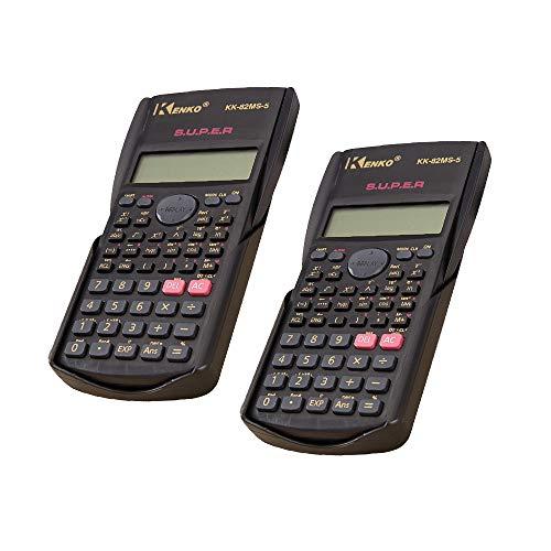 QuRong rekenmachine, 2 rekenmachine, natuurwetenschappelijke faculteit, met multifunctionele batterij, zonder voeding, zwart