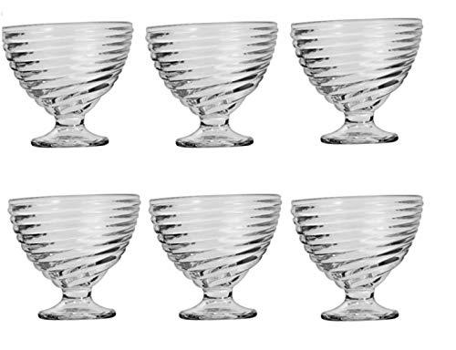 Set de 6 copas de cristal para helado 10x8,5 cm. copas para postre vajilla helado vasos yogur. vasos para postres