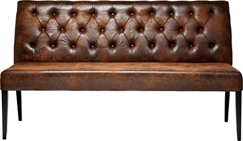 Kare Design Bank Econo Buttons Vintage, Sitzbank braun, Esstisch Bank Lederoptik, Retro Look, (H/B/T) 92x162x55cm