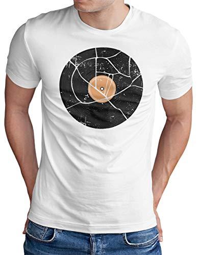 OM3® Vinyl Record Disc LP T-Shirt   Herren   Classic Retro Audio DJ Music   Weiß, S
