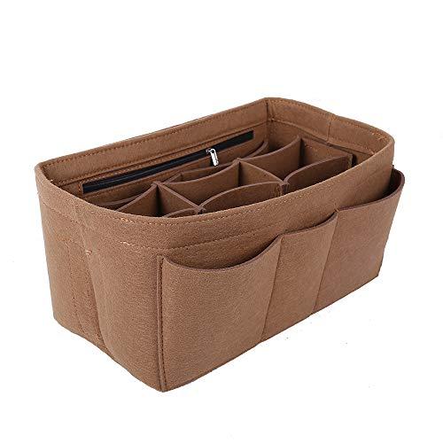 Filzeinsatz Tasche in Tasche für Handtaschen, Geldbörsen, Organizer, mittelgroß, braun