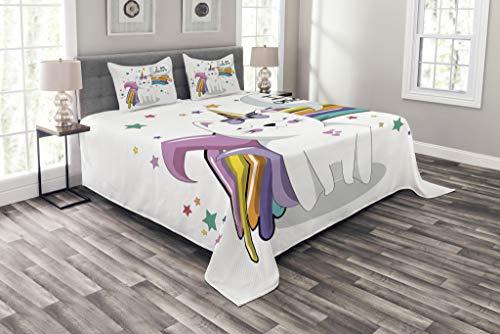 ABAKUHAUS Einhorn-Katze Tagesdecke Set, Kinder-Fiction-Fee, Set mit Kissenbezug Ohne verblassen, für Einzelbetten 170 x 220 cm, Multicolor
