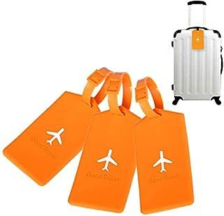 シンプルライフ、ライフアシスタント 3 PCSスクエアPVC荷物タグトラベルバッグ識別タグ(オレンジ)、荷物タグ (色 : オレンジ)
