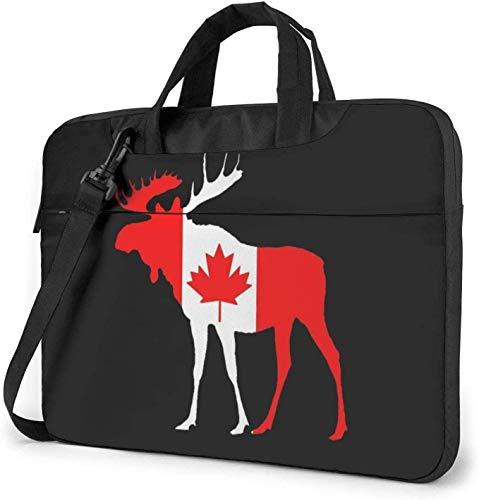 Canada Flag Moose Laptop Bag Shockproof Briefcase Shoulder Bags Carrying Case Laptop 15.6 Inch