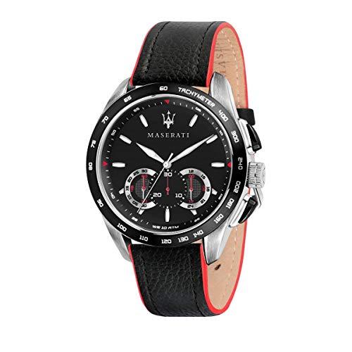 Orologio da uomo, Collezione Traguardo, con movimento al quarzo e funzione cronografo, in acciaio e cuoio - R8871612028