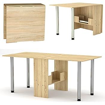 Rodnik Klappbarer Tisch Esstisch 174 x 80 x75 cm Klapptisch Funktionstisch Bürotisch Holzoptik Sonoma Eiche mit Metallbeinen