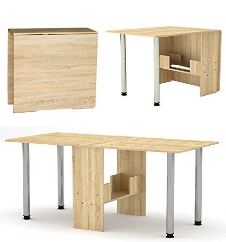 Rodnik Klappbarer Tisch- Esstisch 174 x 80 x75 cm - Klapptisch - Funktionstisch - Bürotisch - Holzoptik-Sonoma Eiche-mit Metallbeinen