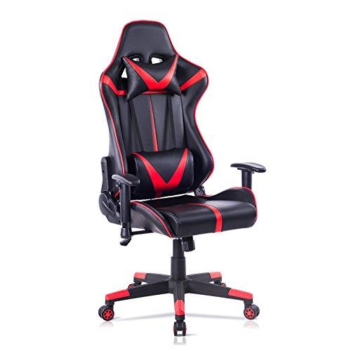 WOLTU® Racing Stuhl Gaming Stuhl Bürostuhl Schreibtischstuhl Sportsitz mit Armlehne, mit Kopfstütze und Lendenkissen, höhenverstellbar, dick gepolsterte Sitzfläche aus Kunstleder, Rot, BS13rt