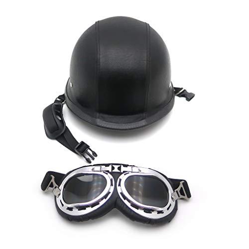 HTTMT MT506-002-M- DOT German Black Leather Motorcycle Half Face Helmet Biker Pilot Goggles M