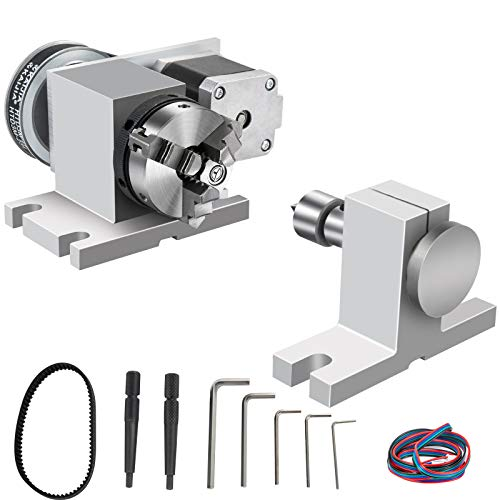VEVOR 4th Axis Home CNC Milling Machine Rotational Axis 65mm 3-Jaw Chuck Dividing Head with Tailstock Rotary Axis Phase 2 Rotary Table Reducing Ratio 4:1 for Engraving Machine w/Tool Accessories