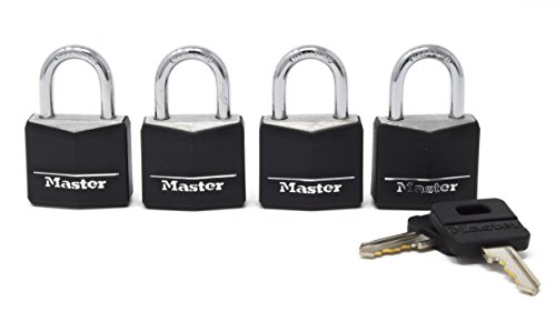 Master Lock 131Q Padlock with Key, 4 Pack, Black