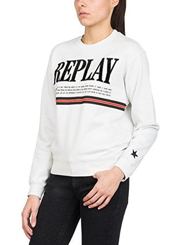 REPLAY Sweater Sudadera, Blanco (Ice 209), S para Mujer