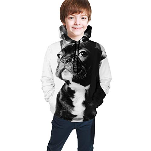 Youth Hoodie Sweatshirt, French Bulldog Realistic 3D Digital Printed Pullover Tops for Boys Girls 7-20 Years Black