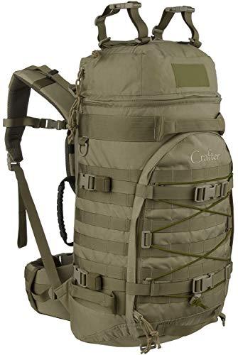 Wisport Survival Rucksack + inkl. E-Book   Backpacking Backpack   Trekkingrucksack groß   Backpacker   Pfadfinder   Abenteuer   Expedition   Cordura   55 L   RAL - 7013   Crafter