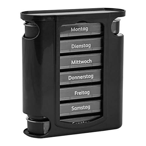 WELLGRO Tablettenbox für 7 Tage, je 4 Fächer pro Tag, 11 Farben zur Auswahl, Farbe:Schwarz