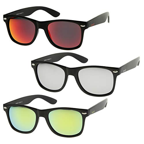 zeroUV - Retro 80's Classic Colored Mirror Lens Square Horn Rimmed Sunglasses for Men Women (3 Pack | Silver + Red + Yellow)