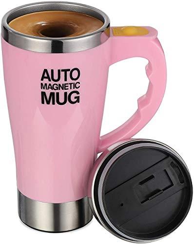 Taza de café eléctrica auto agitación taza, acero inoxidable auto magnético taza auto mezcla taza café té leche cacao taza 450ml (rosa)