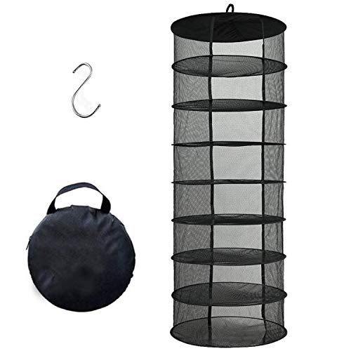 Desy & Feeci Drying Net, 8 Layer Collapsible Mesh Hydroponic Drying Rack Dry Net Herb Dryer with S Hang Buckle and Storage Bag, Black