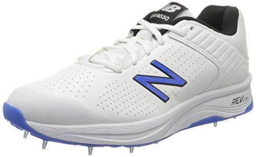 New Balance Herren 4030v4 h Cricketschuhe, Weiß (White/Cobalt Blue White/Cobalt Blue), 41.5 EU