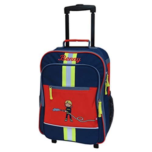 Sigikid Kinder-Rollkoffer mit Namen bestickt 40 cm x 17 cm x 30 cm dunkelblau rot mit Feuerwehr-Motiv Frido Firefighter Reisegepäck Trolley personalisiert mit Reflektor-Streifen