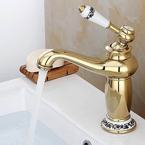 Grifo mezclador monomando de latón antiguo, color dorado