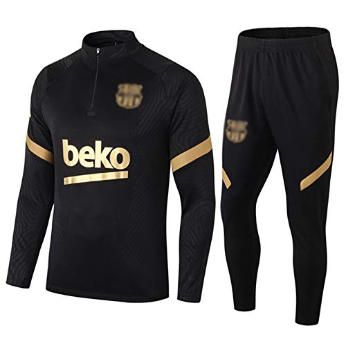 Kit de Entrenamiento de fútbol de 2021 Bárcèlónà Mens - Bārçà Boys Soccer Jersey | Top de Manga Larga + Set de Pantalones | Medio Cremallera Sudadera Pullover Black-XL