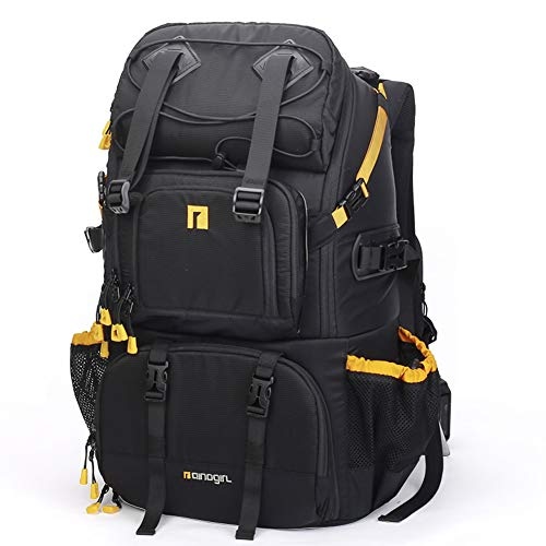 DSLR Waterproof Camera Backpack with Rain Cover Backpack Light Concept for Canon Nikon Fuji and Other Laptop Packs for Women - Black -