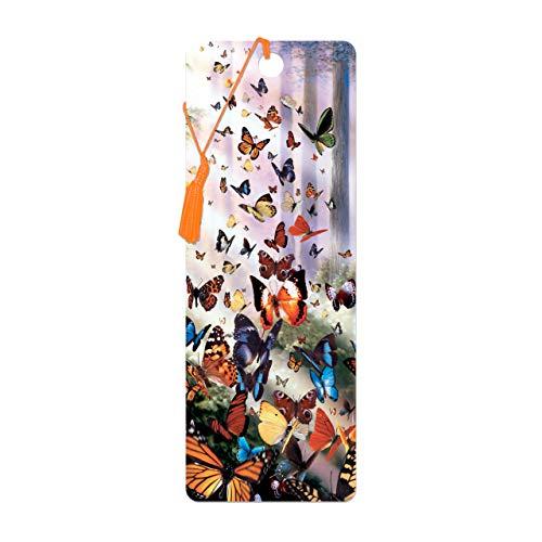 Bookmark 3D LiveLife - Schmetterlings-Holz. Lentikulare Grafik 3D geholt Ihnen durch Deluxebase, genehmigt vom bekannten Künstler David Penfound, einschließlich eine dekorative farbige Quaste.