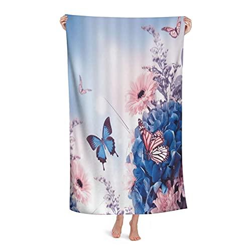 Grande Suave Ligero Microfibra Toalla de Baño Manta,Florales Flores Azules Y Rosas con Mariposa Dream,Hoja de Baño Toalla de Playa por la Familia Hotel Viaje Nadando Deportes,32' x 52'