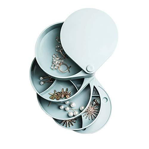 caja organizadora de joyas Joyería de la caja 360 ° giratorio 4 capas de gran capacidad pendientes de la joyería caja de exhibición de la joyería femenina del hogar Caja de almacenamiento organizador