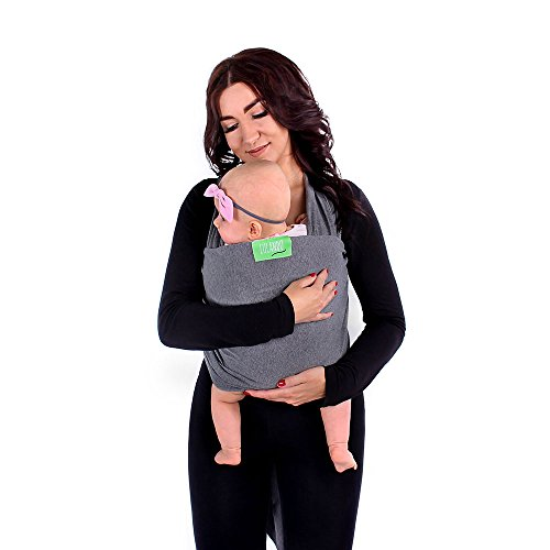 LULANDO Echarpe de portage élastique pour transporter le bébé LULANDO coton 100%, 4,6m x 0,5m et 5,20m x 0,55m, Farbe:Dark Grey, Größe:5.2 x 0.55 m