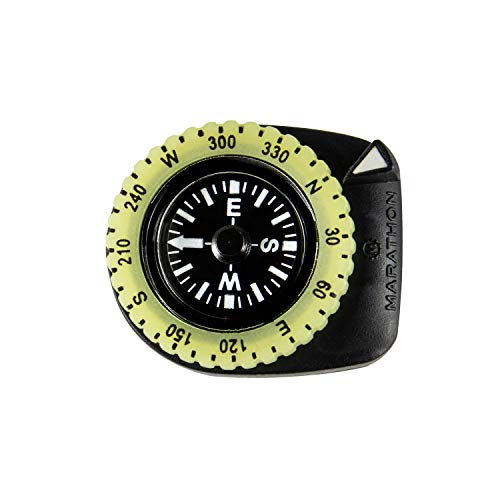 Marathon Watch Clip-On Wrist Compass with Glow in The Dark Bezel. Northern Hemisphere Version - CO194005