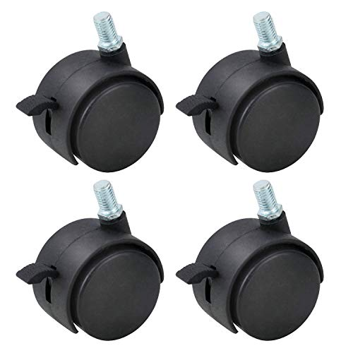 Gizhome 4 Pack 1.5 Inch Nylon Plastic Replacement Caster Swivel Furniture Wheels Floor Protecting Office Chair Swivel Caster Threaded Stem with Brake Black