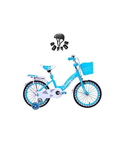 Riscko Wonduu Bicicleta Sunday con Ruedines Y Cesta, Bicicleta De Iniciación, Incluye Protecciones Azul 12 Pulgadas