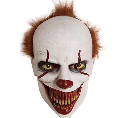 ITAUK Horror Cosplay Máscara de látex Casco Máscara de Miedo de Halloween Accesorios de Fiesta para Adultos (A)