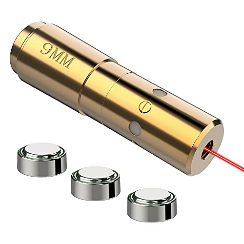 MidTen 9mm Bore Sight Cal Red Dot Boresighter Rem Gauge with Three Batteries