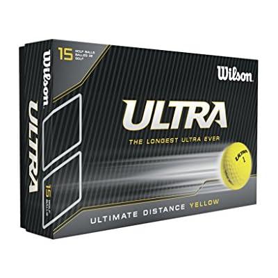 Wilson, Bola de golf dura, 2 capas, Hombre, Para máxima distancia, Pack de 15, Principiantes y jugadores avanzados, Alta compresión, Ionómero, Ultra LUE, Amarillo, WGWR60600