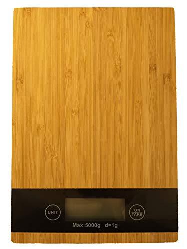 Sam for You Bambus Küchenwaage, Digitale Küchenwaage Bamboo, präzise wiegen bis 5 kg, Tara Funktion, Lebensmittelwaage, Lebensmittelskala, LCD Screen, Inkl Batterie (Rechteckig)