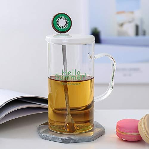 Erjialiu Kaffeetasse 380 ml Mode Glas Porzellan Abdeckung Edelstahl Löffel Frühstück Mit Griff Tasse Transparente Milch Saft Tasse,Kiwi,380 ml
