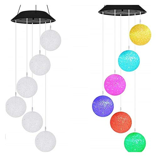 Wind Chimes Color-Changing Outdoor LED Solar Powered Wind Chimes Light Room Decoration Yard Garden Nursery Decor Gift Decoration Gift (Color : Ball)