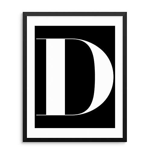 "Alphabet Letters Monogram Initials Wall Art Print Poster -11""x14"" UNFRAMED- Minimalist Black White Typography Artwork for Living Room, Bedroom, Bathroom, Office, Kids Playroom (11""x14"", LTR 'D')"