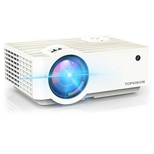 TOPVISION Mini Beamer, 5500 Lumen Heimkino Video Beamer mit 240 Zoll Screen, Native 720P Unterstützt 1080P Full HD Mini projektor, 60000 Stunden LED Beamer Kompatibel mit HDMI/USB/SD/AV/VGA