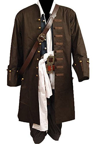 CosplaySky Halloween Pirate Costume Pirates of The Caribbean Jack Sparrow Outfit Medium