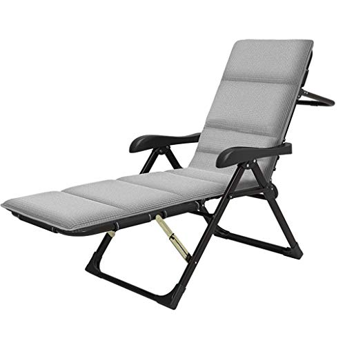 Sunlounger,Extra Wide Reclining Garden Loungers and Recliners in Warehouse | Heavy Duty Metal Sun Loungers Recliners for Adults | Folding Portable Deck Chair with Footrest, Gray