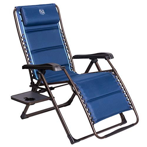 Timber Ridge Zero Gravity Patio Locking Lounge Chair Oversize XL Padded Adjustable Recliner with Headrest Support 350lbs, Navy Blue