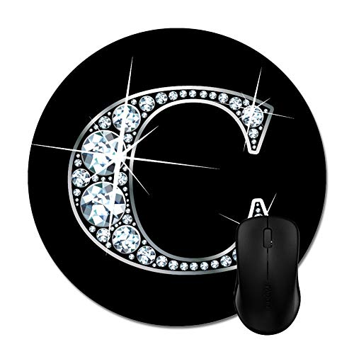 Gorgeous C Diamond Bling Mouse Pads Stylish Office Accessories(8' Round)